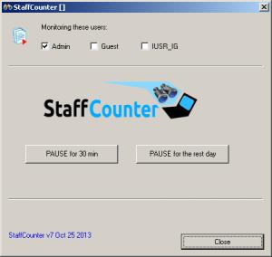 Окно программы Staffcounter для Windows. Программа мониторинга компьютера.